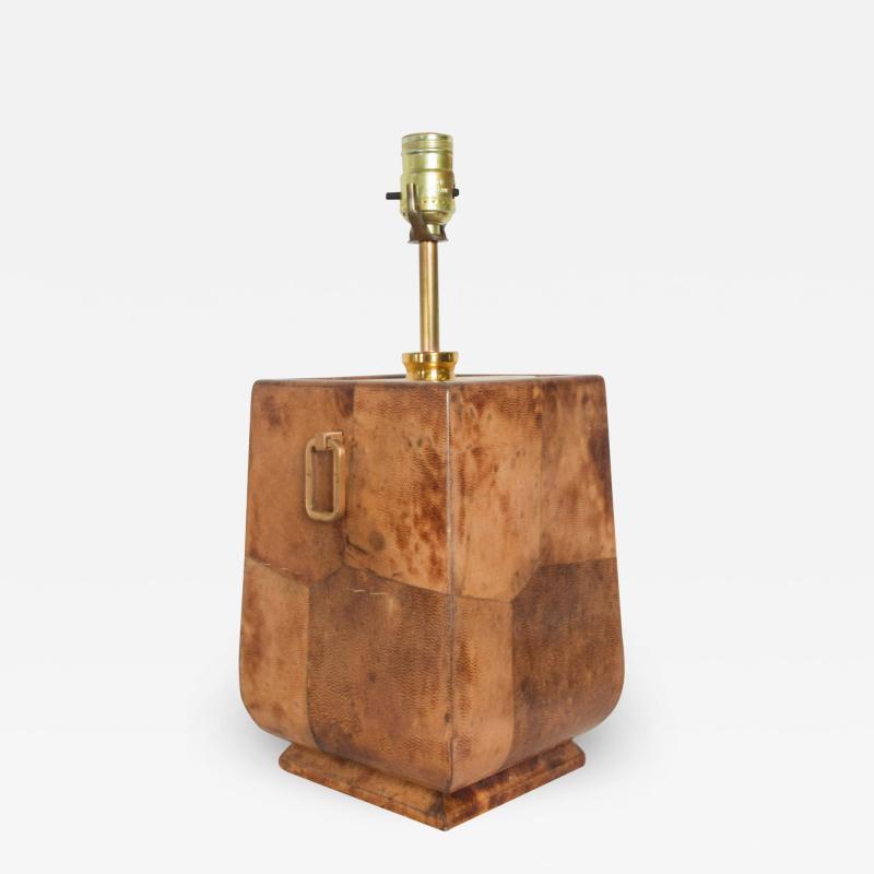 Aldo Tura Exquisite Aldo TURA Table LAMP Lacquered Bronze Burl Parchment with Brass ITALY