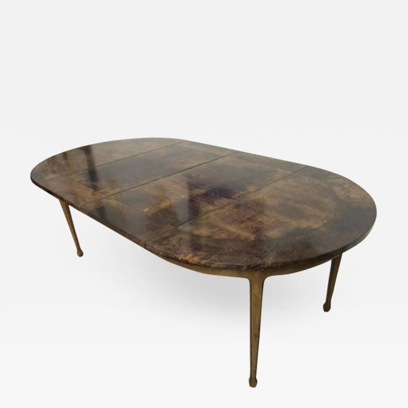 Aldo Tura Extending Parchment Top Dining Table by Aldo Tura Italy 1970