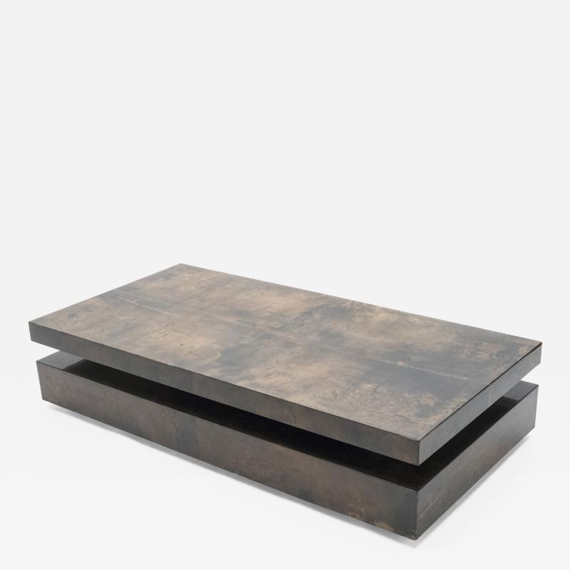 Aldo Tura Large goatskin parchment coffee table by Aldo Tura 1960s