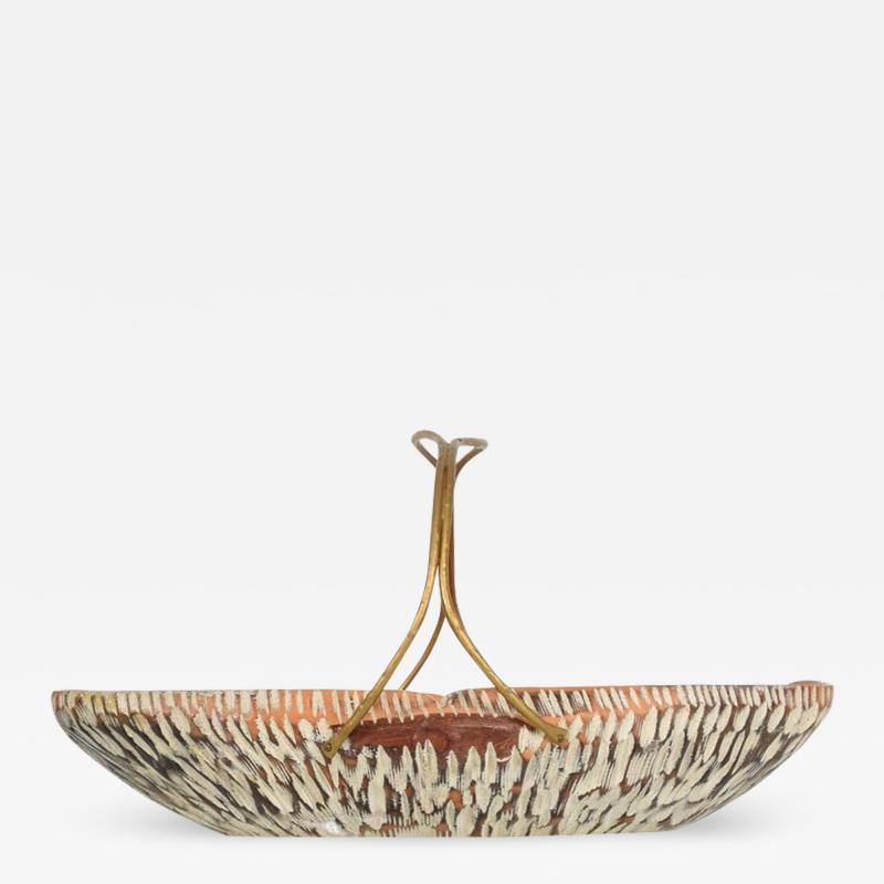 Aldo Tura Macabo Cusano ALDO TURA Designer Carved Wood Brass Basket Milan Italy 1960s