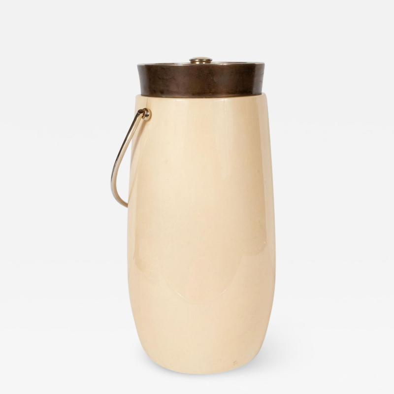 Aldo Tura Mid Century Modern Lacquered Goat Skin and Brass Ice Bucket by Aldo Tura