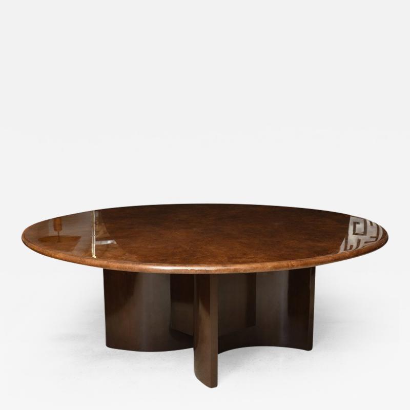 Aldo Tura Monumental Italian Modern Goatskin and Dark Walnut Dining Table by Aldo Tura