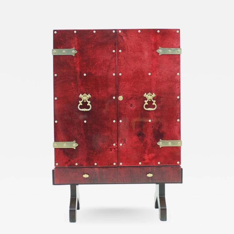 Aldo Tura Red Goatskin Dry Bar by Aldo Tura Italy 1960s