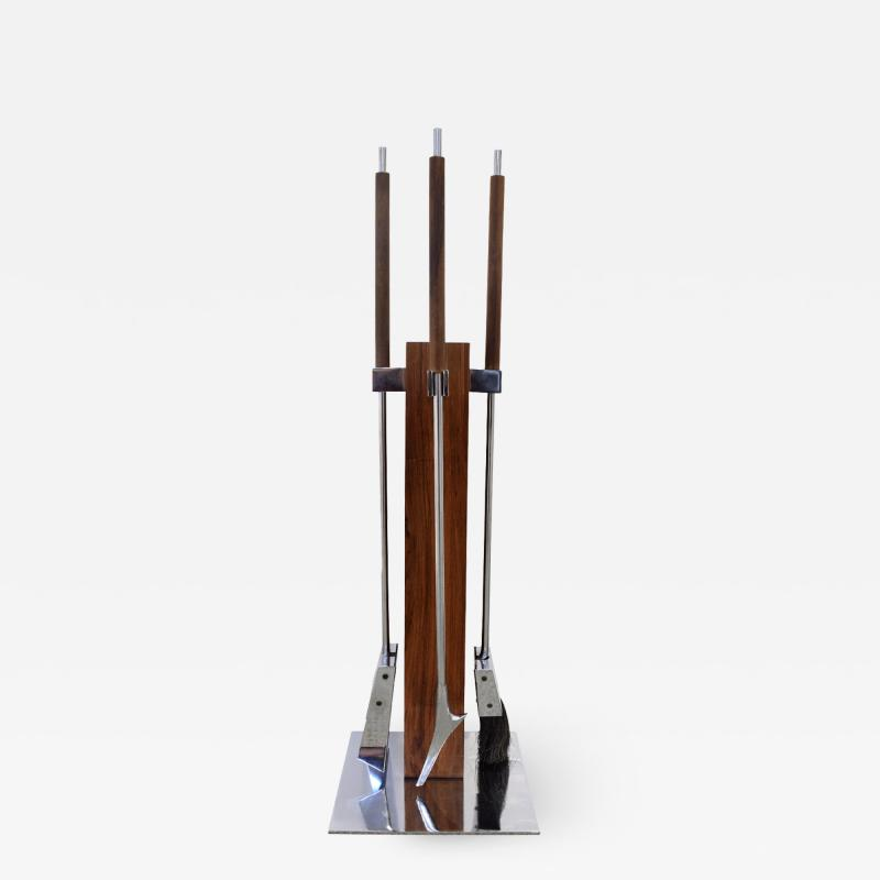 Alessandro Albrizzi Albrizzi Fireplace Tool Set With Mounting Post In Brazilian Rosewood 1970s