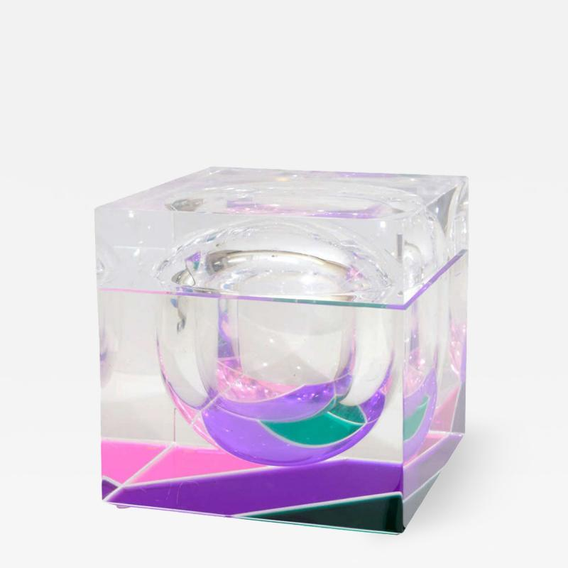 Alessandro Albrizzi EXCEPTIONAL MODERNIST COLOR BLOCK LUCITE ICE BUCKET BY ALESSANDRO ALBRIZZI