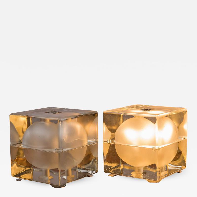 Alessandro Mendini Pair of Cubosfera Table Lamps by Alessandro Mendini for Fidenza Vetraria