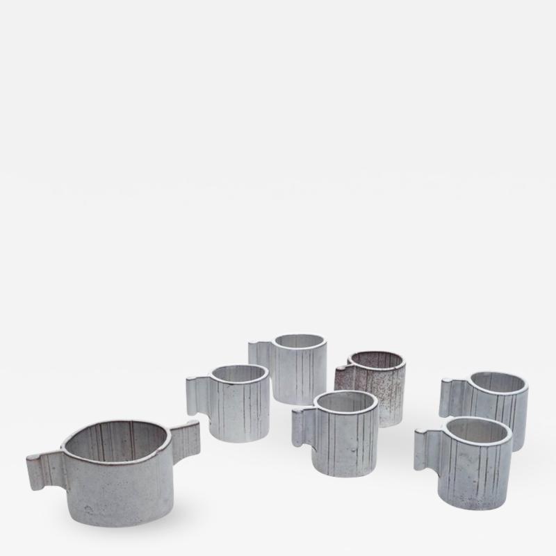 Alessio Tascsa Alessio Tasca Ceramic Demitasse Cups and Sugar Bowl Italy 1970s
