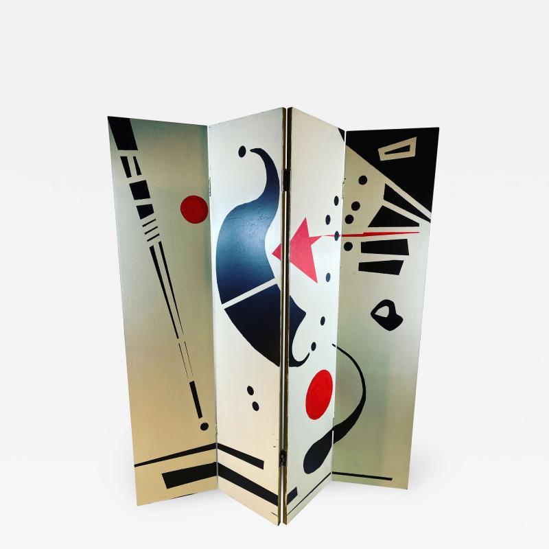 Alexander Calder CALDERESQUE HAND PAINTED WOOD FOUR PANEL STANDING SCREEN