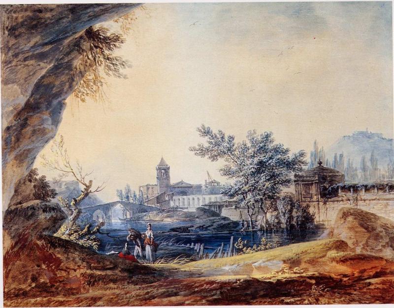 Alexander Jean Noel River Landscape with Peasants