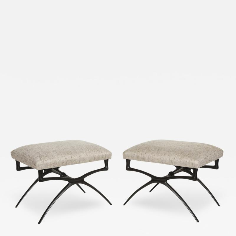 Alexandre Loge Pair of Sculptural Atlante Benches By Alexandre Log