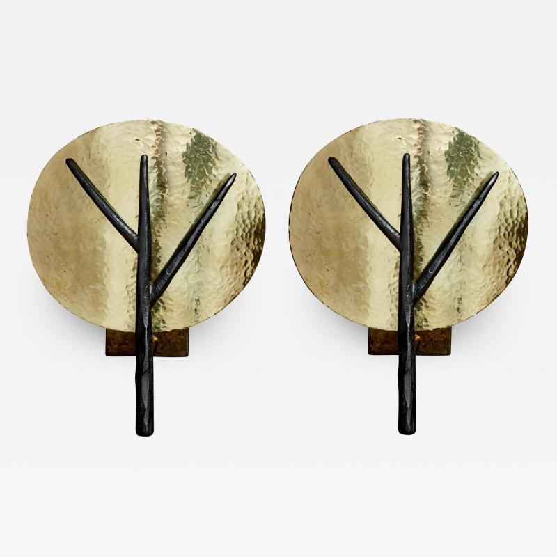 Alexandre Taveau Pair of Hammered Brass and Iron Tree Wall Sconces