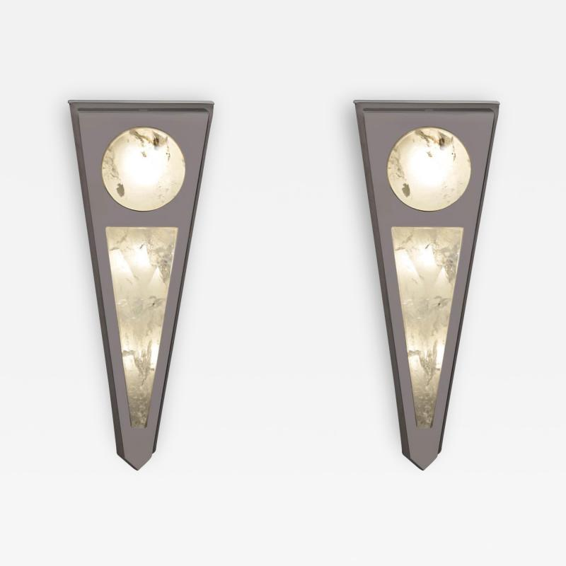 Alexandre Vossion MOON I SILVER EDITION Pair of Rock Cristal wall lights