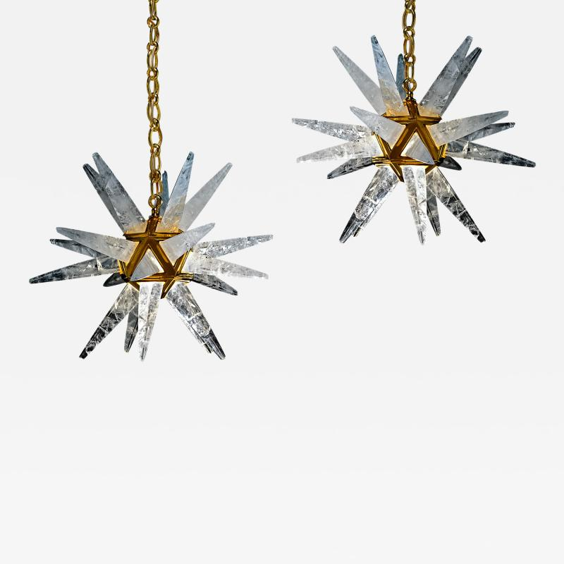 Alexandre Vossion PAIR OF ROCK CRYSTAL STAR III MODEL CHANDELIER GOLD EDITION