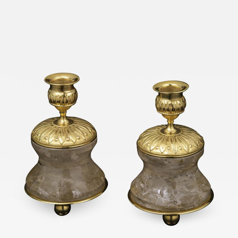 Alexandre Vossion Pair of Rock Crystal and Gilt Bronze Lamps Candlesticks First Empire Style