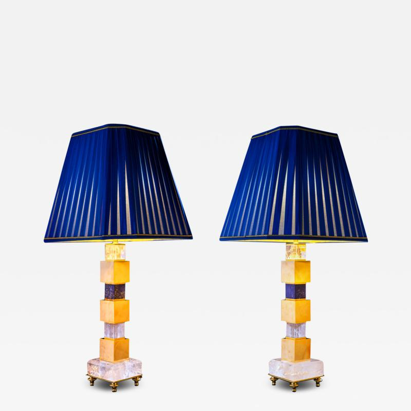 Alexandre Vossion Rock Crystal and Lapis Lazuli Art Deco Style Pair of Lamps