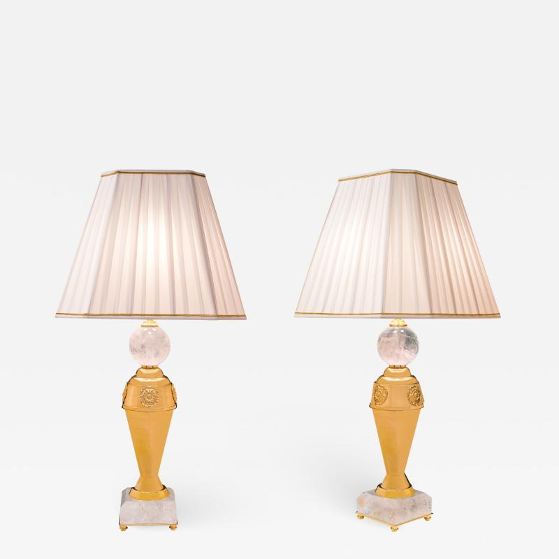 Alexandre Vossion Rock crystal pair of lamps