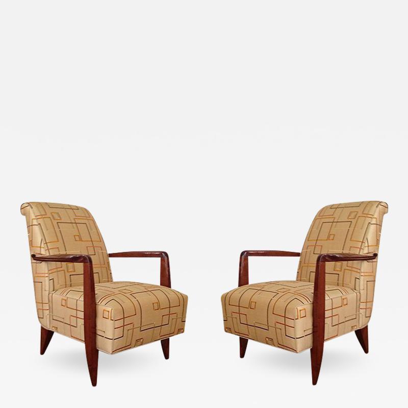 Alfred Porteneuve Pair of Art Deco Armchairs