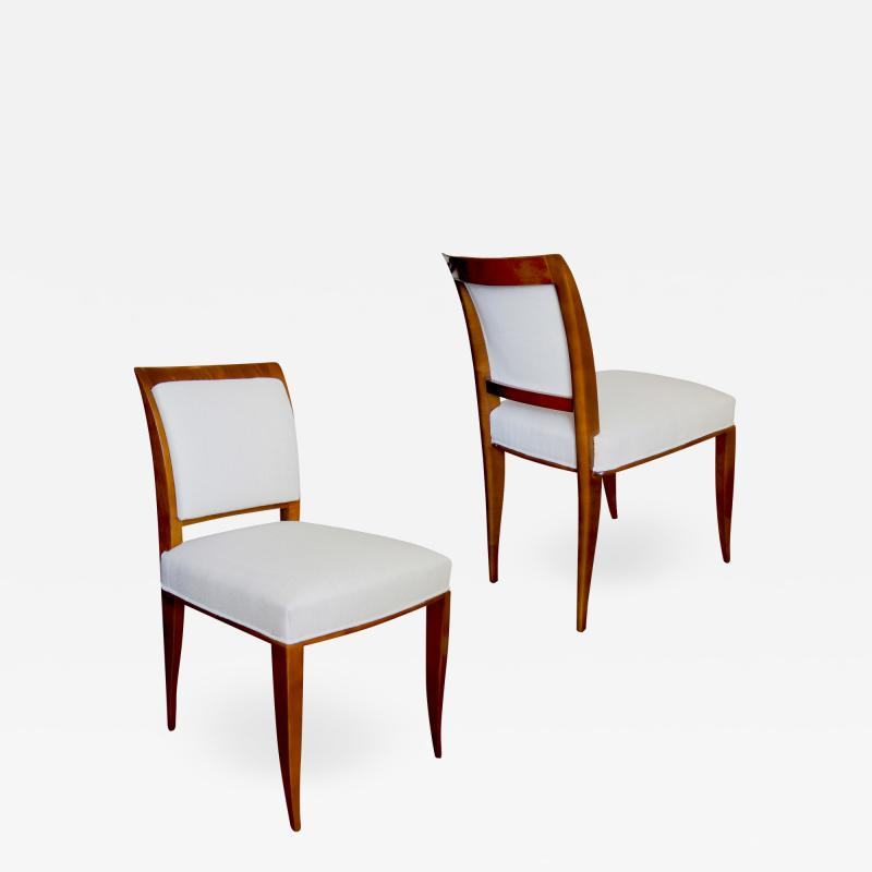 Alfred Porteneuve Pair of elegant Sycamore Chairs by Alfred Portneuve