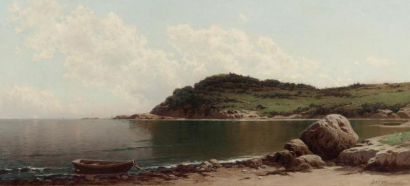 Alfred Thompson Bricher COASTAL SCENE WITH ROWBOAT by Alfred T Bricher