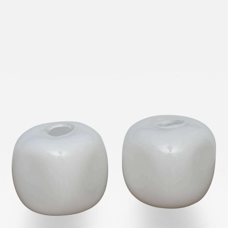 Alfredo Barbini Pair of Italian Modern Glass Lamps Marked Barbini