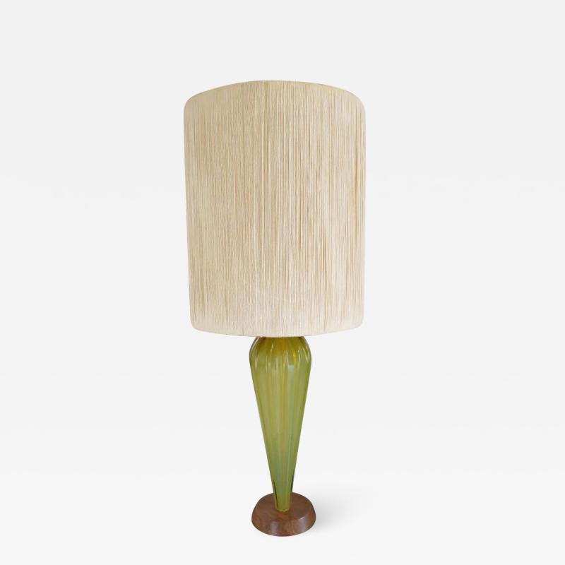 Alfredo Barbini Stunning Alfredo Barbini Yellow Ribbed Murano Glass Table Lamp Gold Flecks