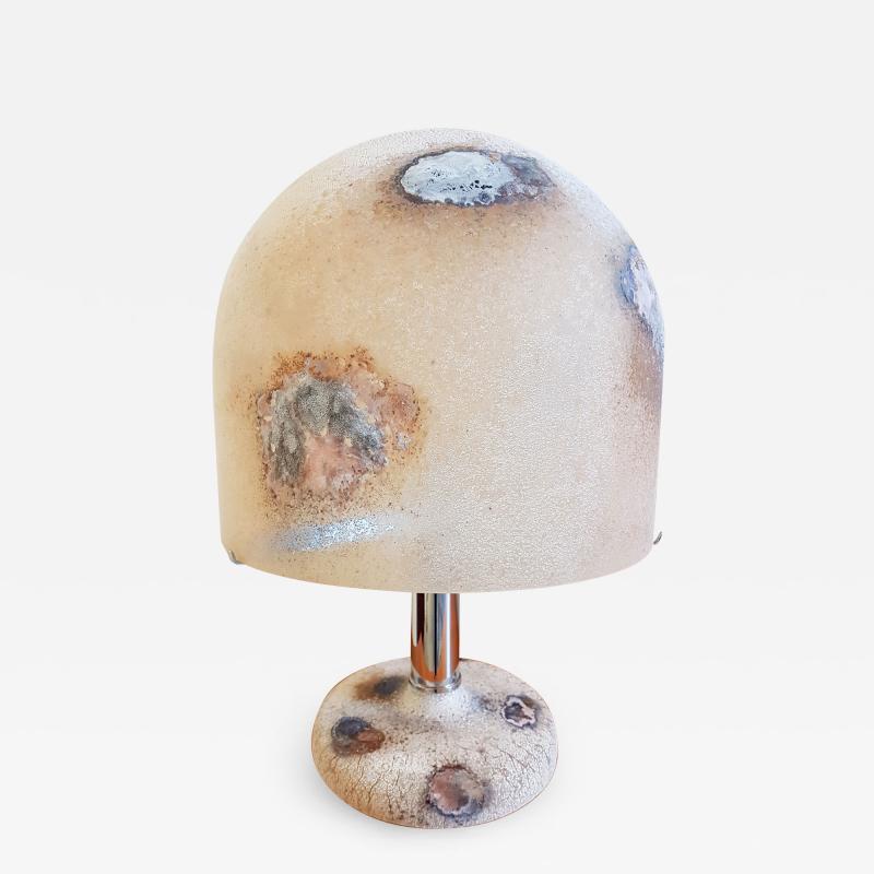 Alfredo Barbini Textured Murano Glass Mid Century Modern Table Lamps by Alfredo Barbini 1980s