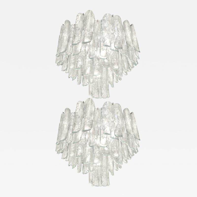Alfredo Barbini Very Rare Pair of Large Barbini Textured Glass Chandeliers