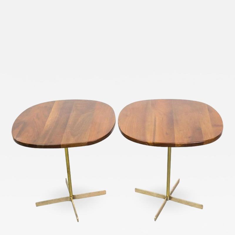 Allan Gould Pair of Elegant Side Tables in Brass and Wood by Allan Gould
