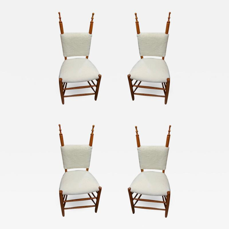 Alp style charming set of 4 chairs covered in wool faux fur