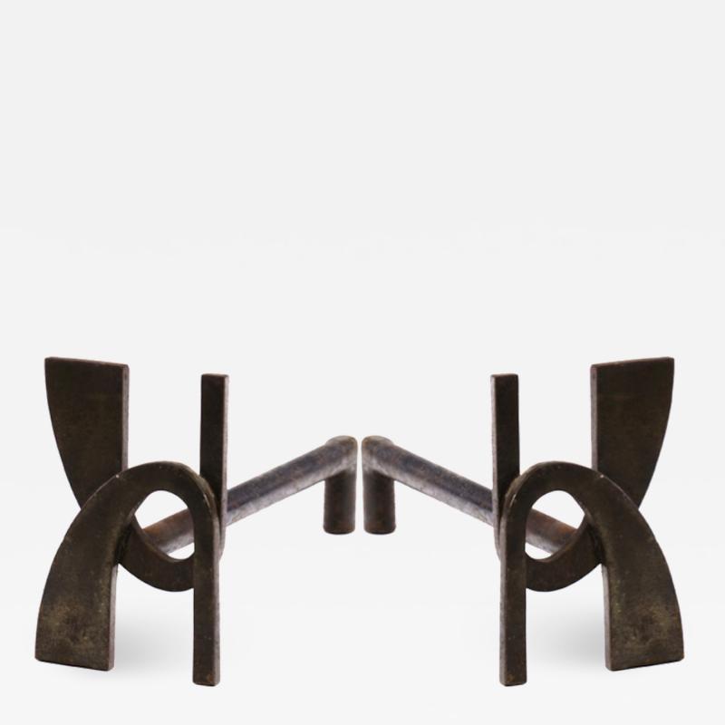 Alpha shaped stunning pair of wrought iron andirons