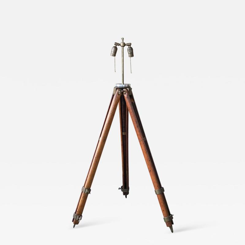 Amazing Architect Surveyor Base Oak Tripod Floor Lamp Repurposed Vintage