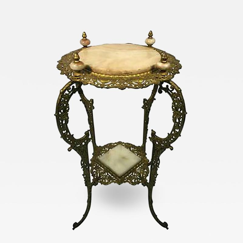 Amazing Art Nouveau Two Tier Onyx and Gilded Iron Plant Stand