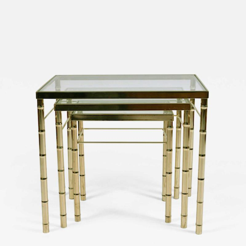 American 1960s nest of three brass tables