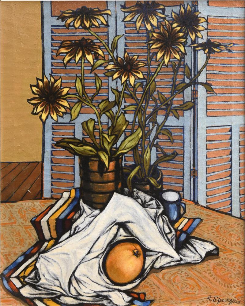 American 20th Century Surrealist Oil on Canvas Robert Springfels 1968
