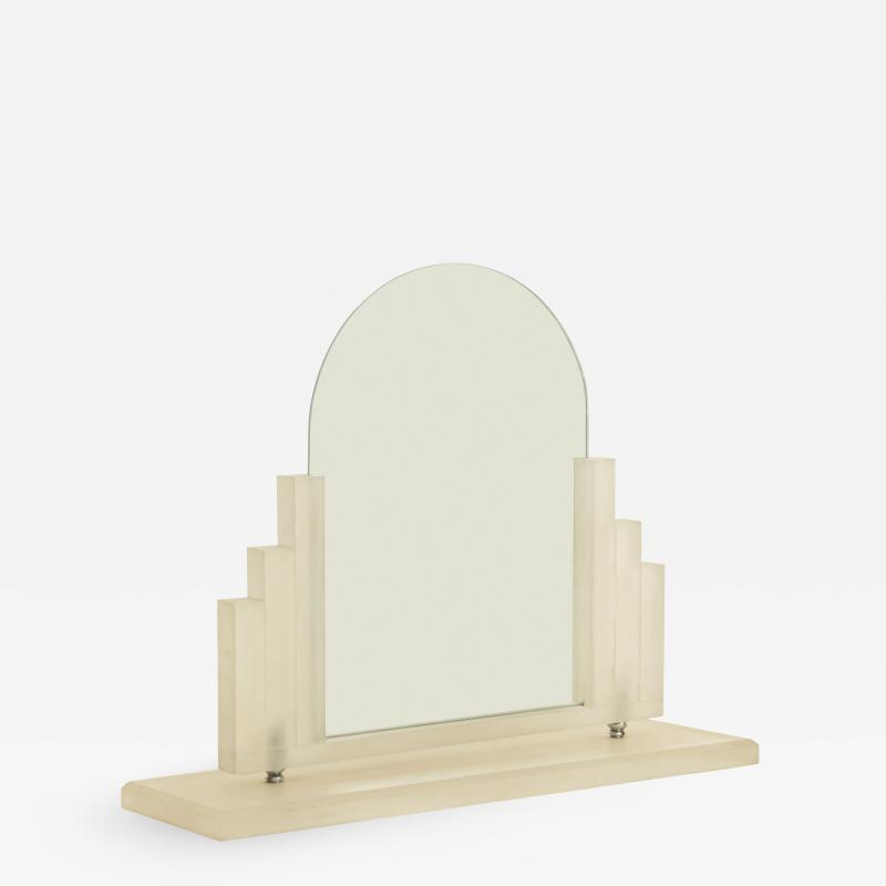 American Art Deco Style Frosted Lucite Dressing Table Vanity Mirror
