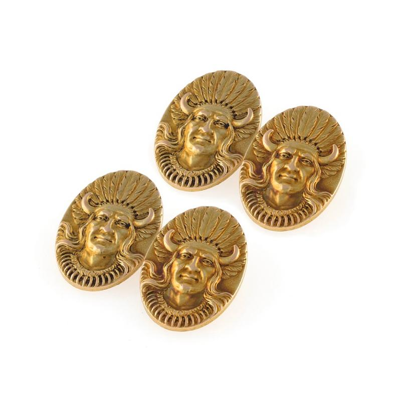 American Gold Indian Portrait Cuff Links