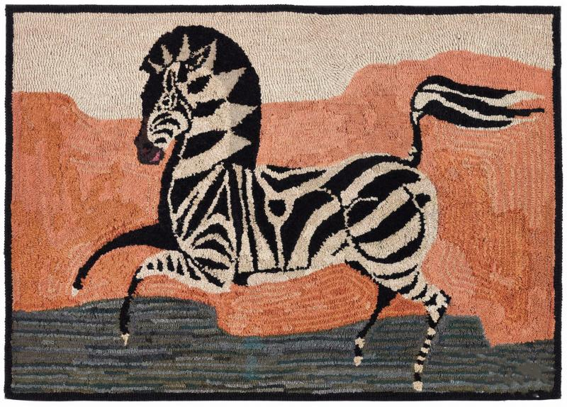 American Hooked Rug Depicting a Zebra