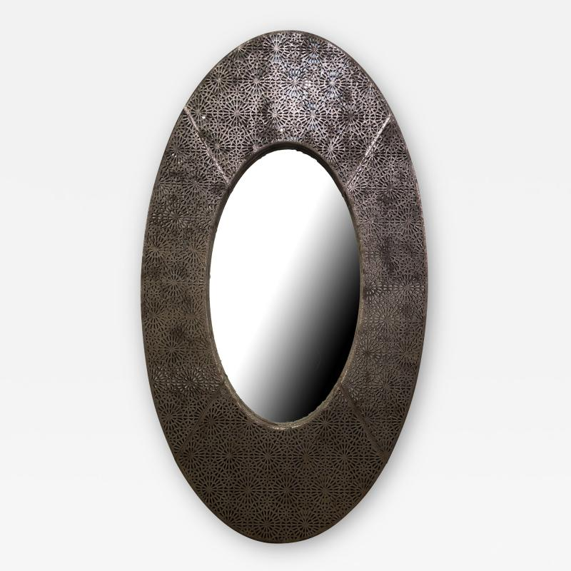 American Modern Brown and Silver Metallic Leather Oval Mirror