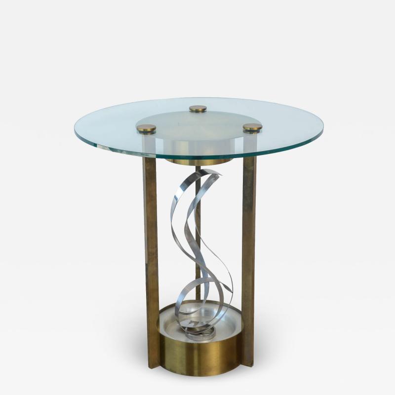 American Modern Chrome Brass and Glass Side Table Fontana Arte 1960s