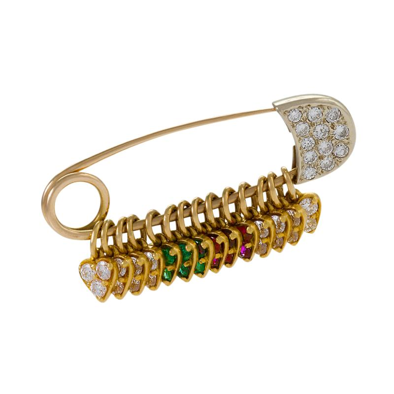 American Safety Pin Brooch