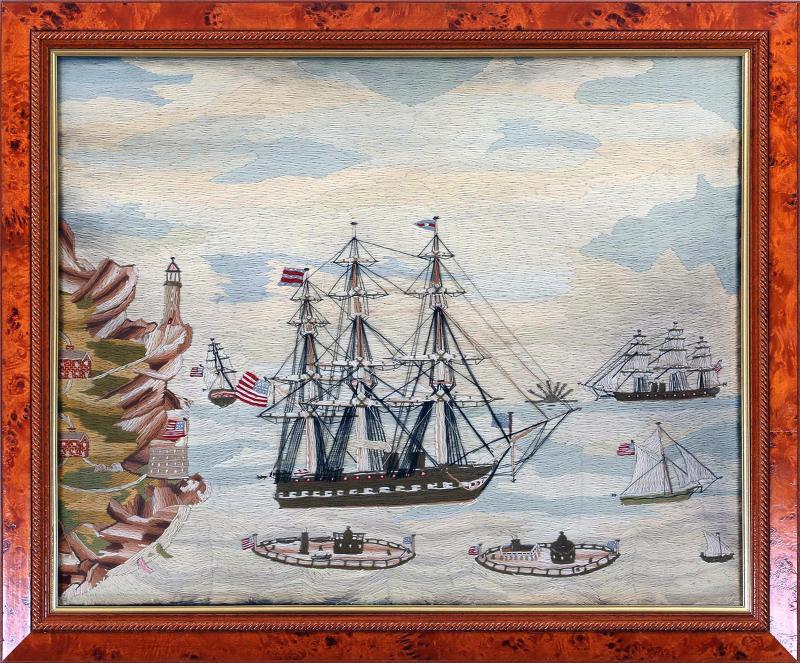 American Sailors Woolwork Depicting Ten Naval Vessels
