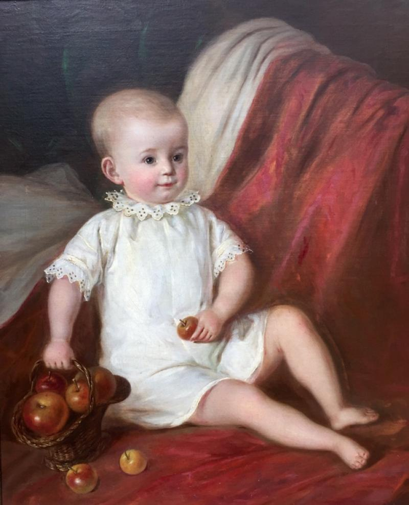American School Child with Apple