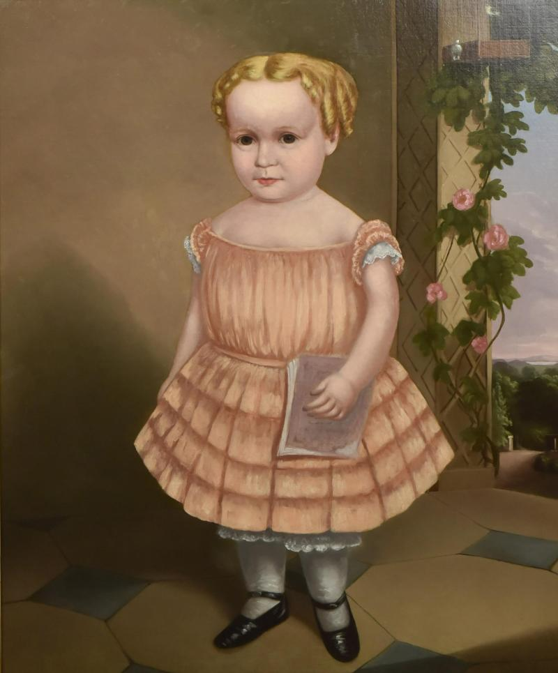 American School Portrait of Golden Haired Child with Ringlets