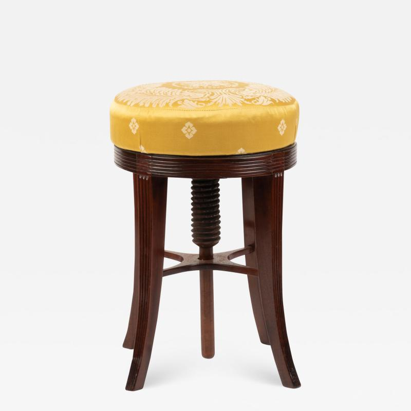 American Sheraton mahogany circular seat piano stool
