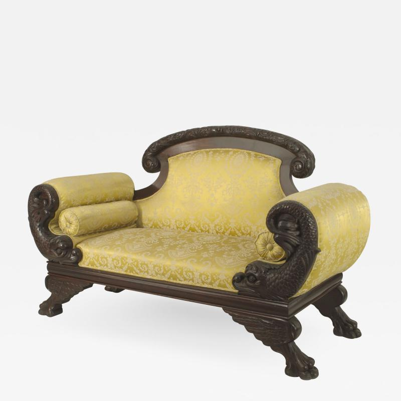 American Victorian Gold Upholstered Loveseat