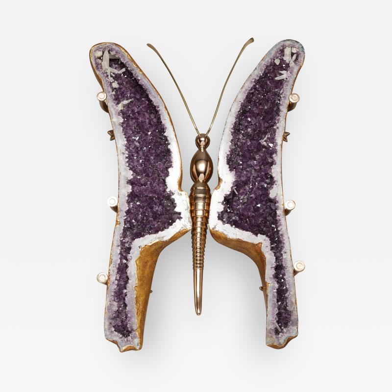 Amethyst and 22K Gold Leaf Butterfly Coffee Table