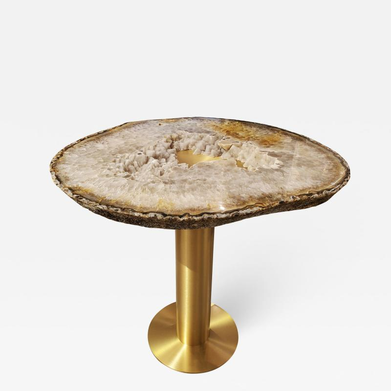 Amy Zook Moonscape II White Gray and Rust Agate Table on Custom Satin Brass Base