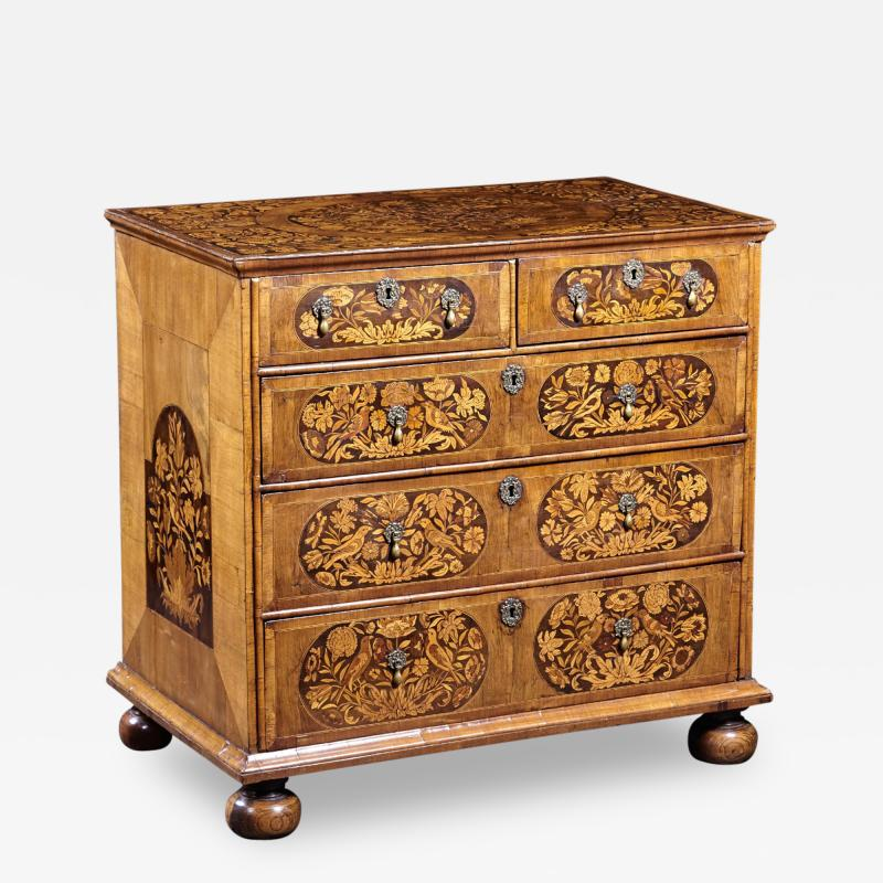 An 18th Century English Marquetry Walnut Chest Circa 1700