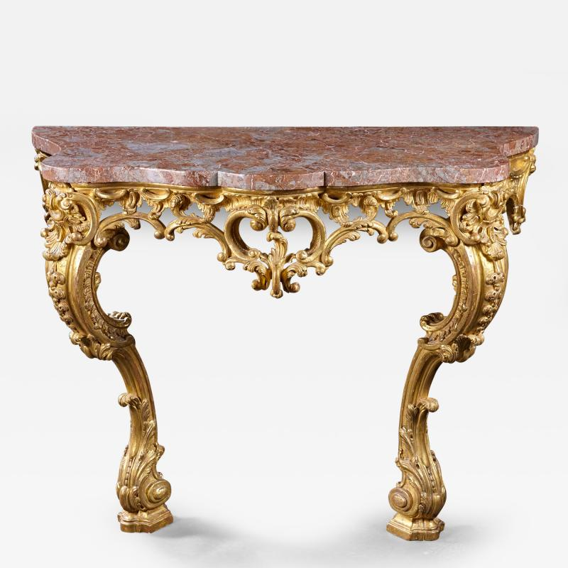 An 18th Century English Rococo Carved Giltwood Console With Marble Top