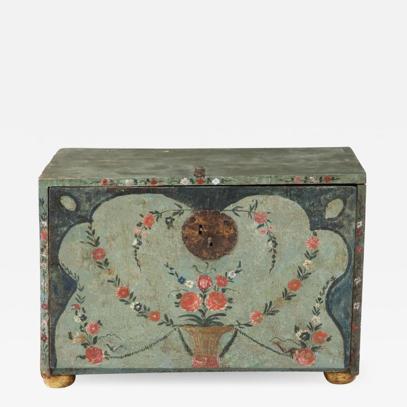 An 18th century polychrome and parcel gilt Spanish Colonial Vargueno